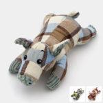Jouet peluche cochon sonore en lin motif tartan pour le chien et le chiot