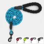 laisse nylon corde sport ronde réfléchissante pour chien ou chiot bleu